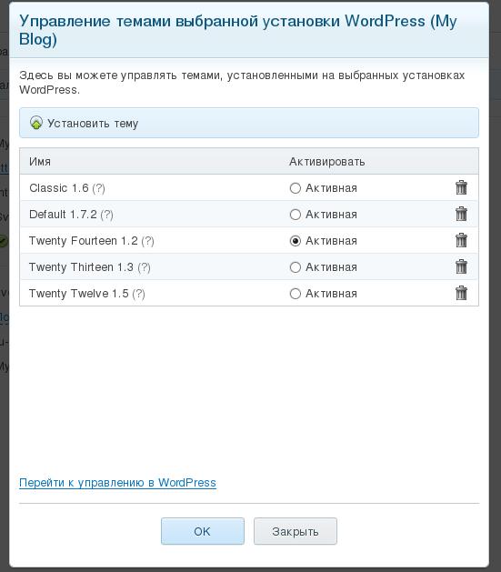 Управление темами Plesk Wordpress