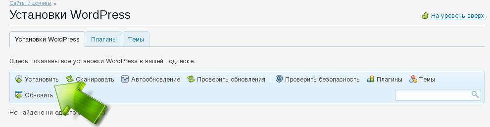 Панель управления WordPress в Plesk