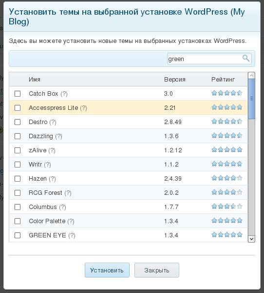 Установить тему Plesk Wordpress